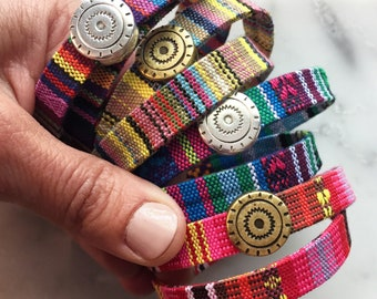 Wrap Bracelet - Tribal Wrap Bracelet - Ethnic Woven Wrap Bracelet - Multicolor Friendship Bracelet - Double Wrap Bracelet - sun worshipper