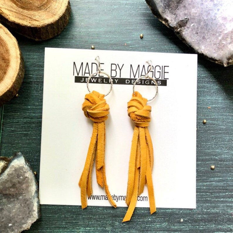 Knotted Leather Fringe Earrings image 0