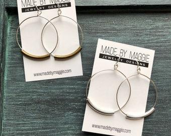 Silver Hoop Earrings - 1 1/4 Inch Sterling Silver Hoop Earrings - Mixed Metal Earrings