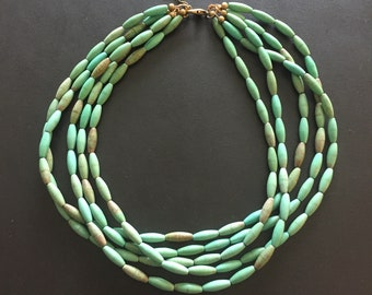 Turquoise Statement Necklace / Multi-Strand Turquoise Necklace / Bohemian Chic /  Turquoise, mint, aqua