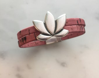 Silver Lotus Flower cork bracelet with magnetic clasp