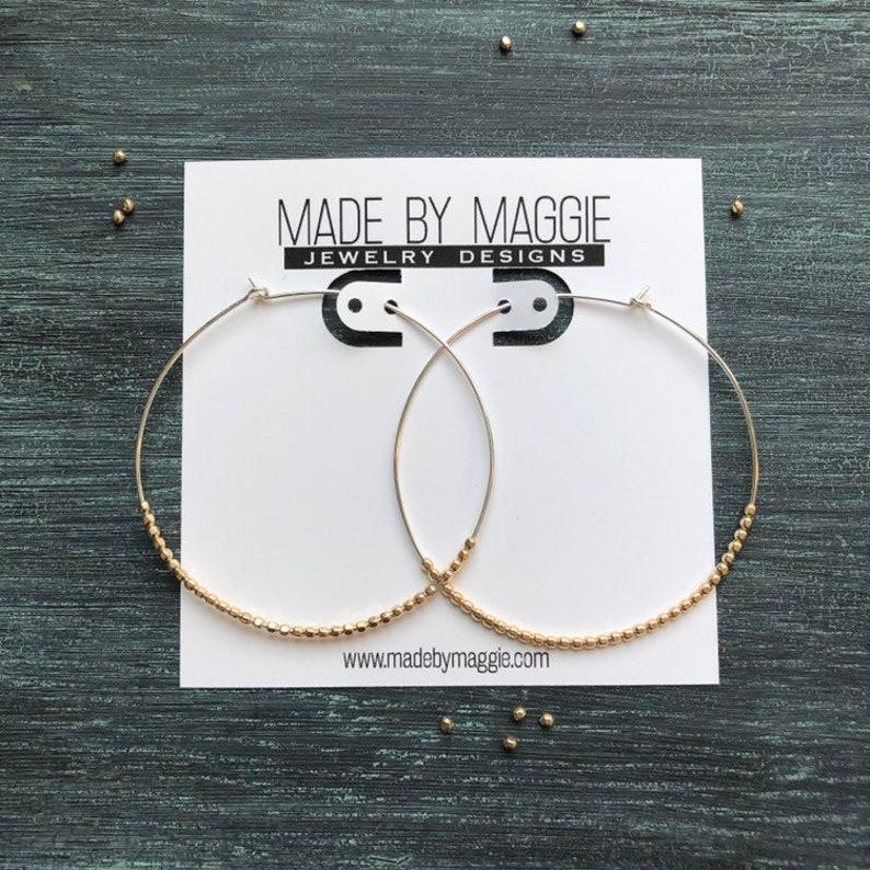 MINDY GIRL HOOPS Large Hoop Earrings  2 1/4 Inch hoops with image 0