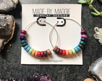 Rainbow Hoop earrings with COLORFUL wooden beads - fall inspired - Argentium sterling silver, 14k gold filled hoops or rose gold
