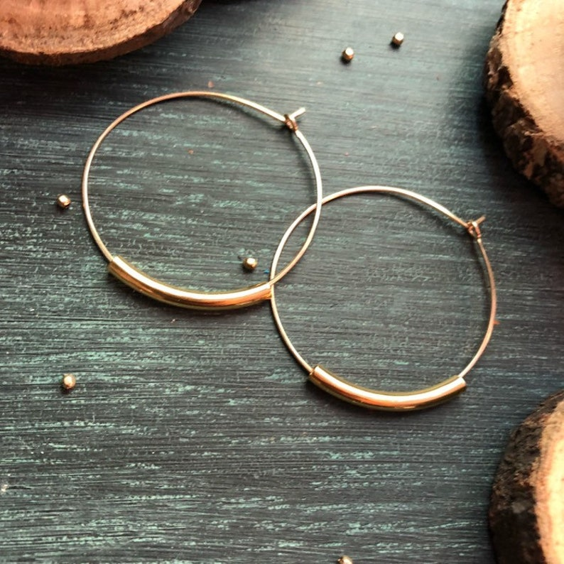 GOLD Hoop Earrings  also available as Sterling Silver Hoop image 0