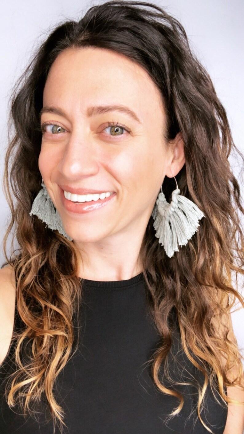 Boho Babe Macrame earrings in SAGE  Macrame Hoop Earrings  image 0