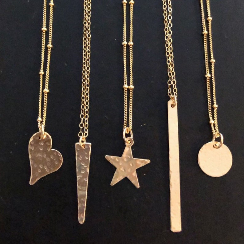 Gold Charm Necklace  heart spike star bar or dot image 0