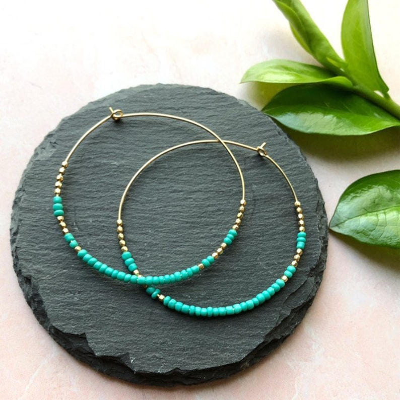 2 1/4 Inch Gold Hoop Earrings  Color Blocked Turquoise and image 0