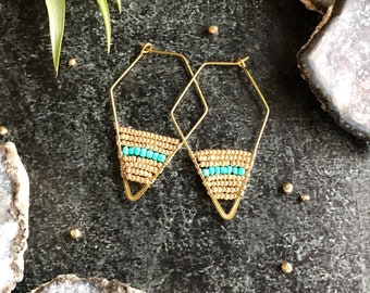 Wire wrapped geometric hoops - turquoise and gold on Brass