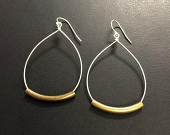 Hoop Earrings - Rustic Hoop Teardrop Earrings - Mixed Metal Earrings - Silver Metal Earrings