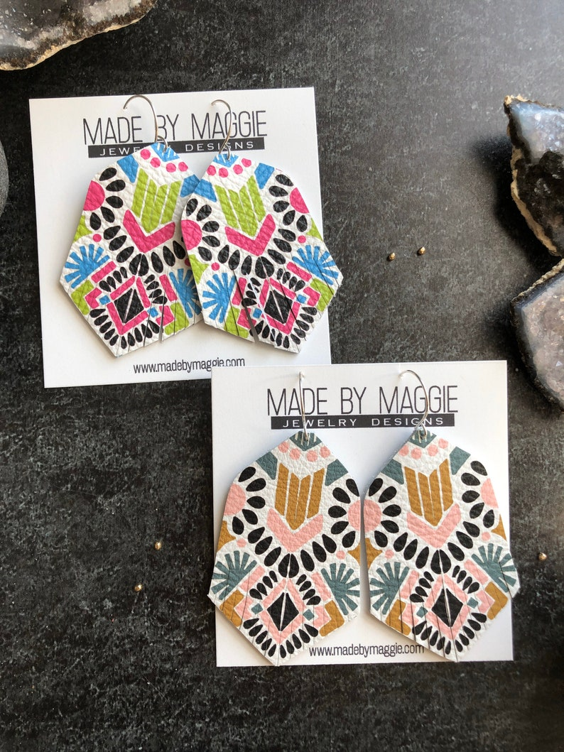 Bohemian Style Fringe Earrings Leather Earrings Aztec Print Leather Earring in Spanish  Pink