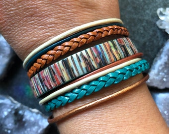 Leather Bracelet - metallic leather cuff bracelet - MADE BY MAGGIE