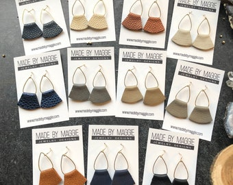 Small Leather Earrings - teardrop and leather earrings - Genuine Leather Earrings