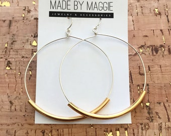 "Joanna Gaines Jewelry - Large Hoop Earrings - 2 1/4"" Sterling Silver Hoops  -  full circles with french hooks - silver, gold or antique gold"