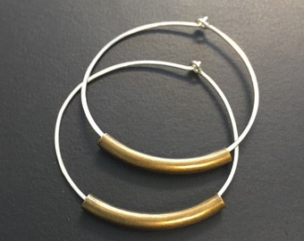 Silver Hoop earrings with Curved Tubes - Thin Dainty Mixed Metal Earrings - Tubes available in silver, antique gold or shiny gold