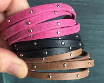 Studded Leather Wrap Bracelets - available as a single skinny (appears as 2 strands)  or double strand wrap (appears as 4 strands)