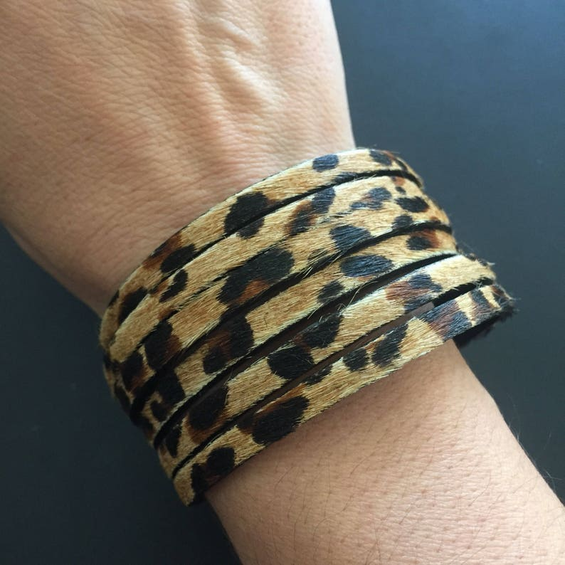 Leather Cuff Bracelet  Leopard Print  Hair On Leather image 0