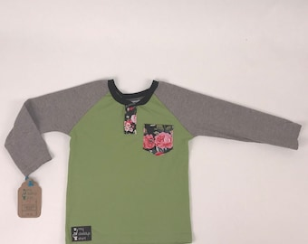Size 5t - UpCycled Long Sleeve Henley Tee with Pocket - Floral