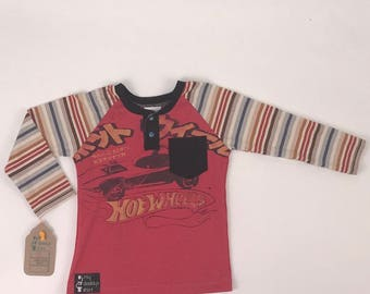 Size 4t - UpCycled Long Sleeve Henley Tee with Pocket - Hot Wheels