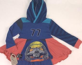 Size 6 - Upcycled Hi-Lo tunic hoodie