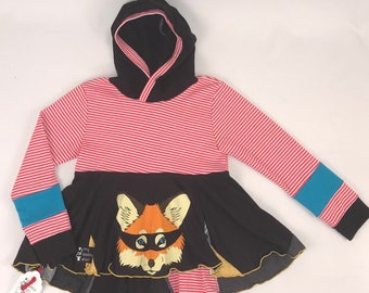 Size 10 - Upcycled Hi-Lo Tunic Hoodie - What Does The Fox Say