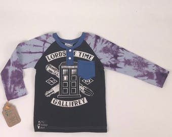 Size 5t - UpCycled Long Sleeve Henley Tee with Pocket - Dr Who Timelord