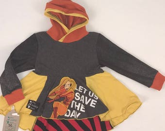 Size 3t - Upcycled Hi-Lo Tunic Hoodie