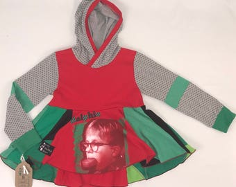 Size 8 - Upcycled Hi-Lo Tunic Hoodie - A Christmas Story Ralphie eating soap