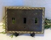 Vintage Solid Brass 3 Switch Plate Cover Antique Brass Finish, Home and Living