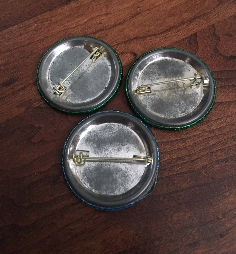 Vintage Collection of 3 Sparkly Pinback Buttons Collectible Buttons.