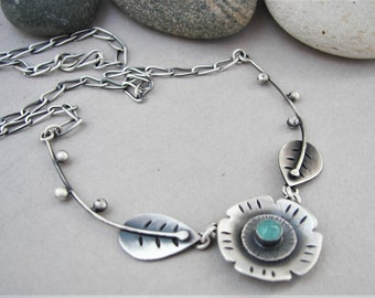 Oxidized silver flower necklace, raw silver gemstone necklace, hammered silver leaf necklace, amazonite modern necklace, nature jewelry