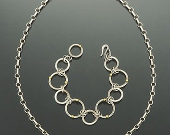 Sterling silver, handmade circles necklace