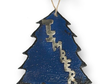 metal timber tree christmas ornament