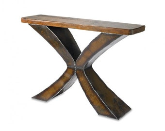Wood & Metal X Console Table Reclaimed Wood and Metal Entry Table