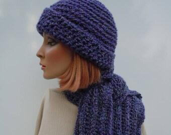 Purple Hat Scarf Set, Hat and Scarf Set, Purple Crochet Set, Soft Hat Scarf, Winter Hat and Scarf, Cold Weather Set
