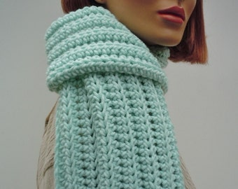 Mint Green Scarf, Pastel Green Scarf, Light Green Scarf, Soft Green Scarf, Crocheted Scarf