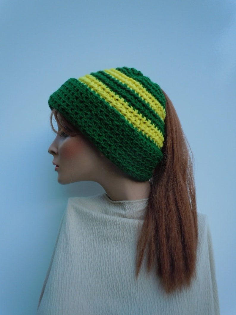 f4b96ba24f0 Ponytail Hat Messy Bun Hat Green and Yellow Hat Dark Green