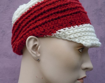 Red and White Newsboy Cap