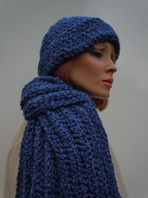 Men Hat Scarf Set Dark Blue Hat Scarf Navy Blue Crochet Hat  d546337a236