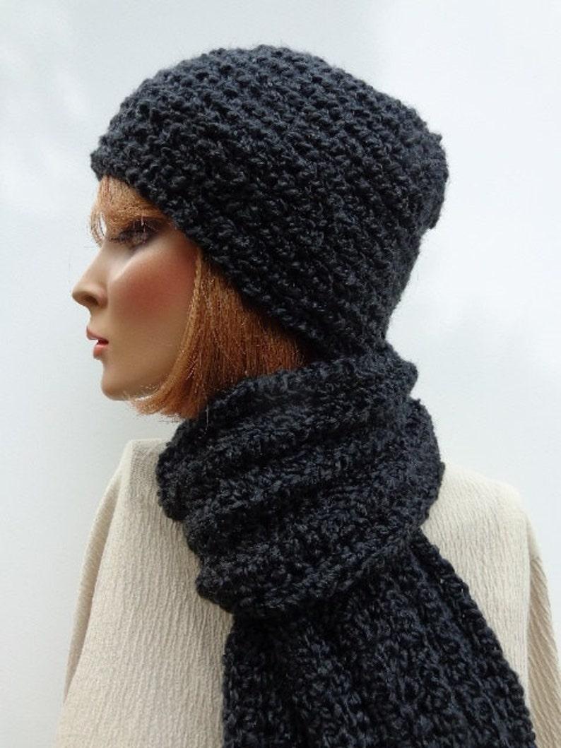 Mens Hat Scarf Set Black Hat and Scarf Soft Hat Scarf Set  11688cb042c