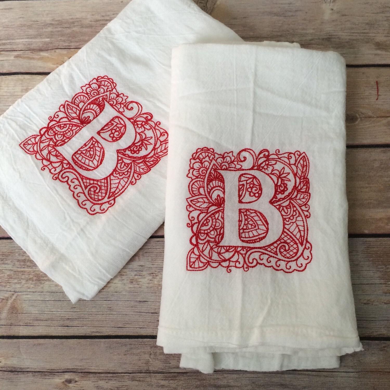 Tea Towels Set Of 2 Monogram Towel Monogram Kitchen Towel