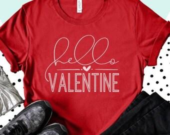 Valentine's Shirt, Valentine's Day, Hello Valentine, Comfy Sweatshirt, alphabet, Made to Order, Custom, Valentine Design, Love, Warm