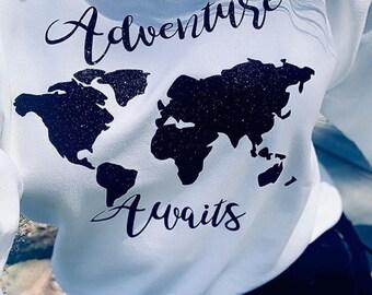 Adventure Awaits, Adventure, Adventure shirt, Adventure Tee, Adventure t-shirt, Travel, Travel shirt, Travel tee, Travel t-shirt, World