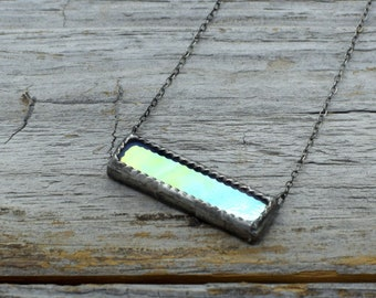 Iridescent Gray Stained Glass Bar Necklace