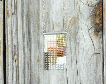 Geometric Bead Woven Necklace