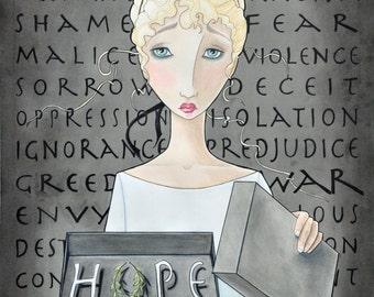 Pandora's Box, Mythology, inspirational quote, greek mythology, roman mythology, hope, Pandora, fantasy, graphic art, Mary Pohlmann