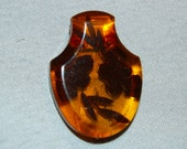 Dress Clip Amber, Lucite, Vintage old jewelry