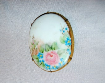 Antique Victorian Brooch, Handpainted Porcelain, C Clasp Roses, vintage old jewelry