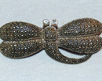 Rhinestone Dragonfly Brooch,  Bee Wasp Bug Insect, Vintage  old jewelry