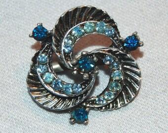 Blue Rhinestone Brooch, Pin  Silver Tone, Vintage old jewelry
