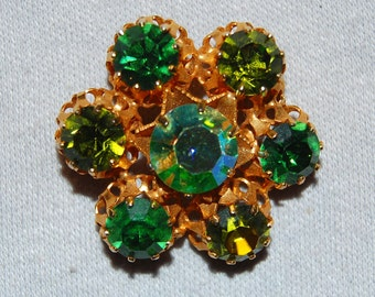 Austria Rhinestone Brooch, Green Aurora Borealis, Signed, Vintage Old Jewelry